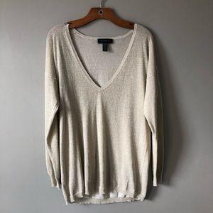 Cable & Gauge Lightweight Gold Glitter Sweater XL